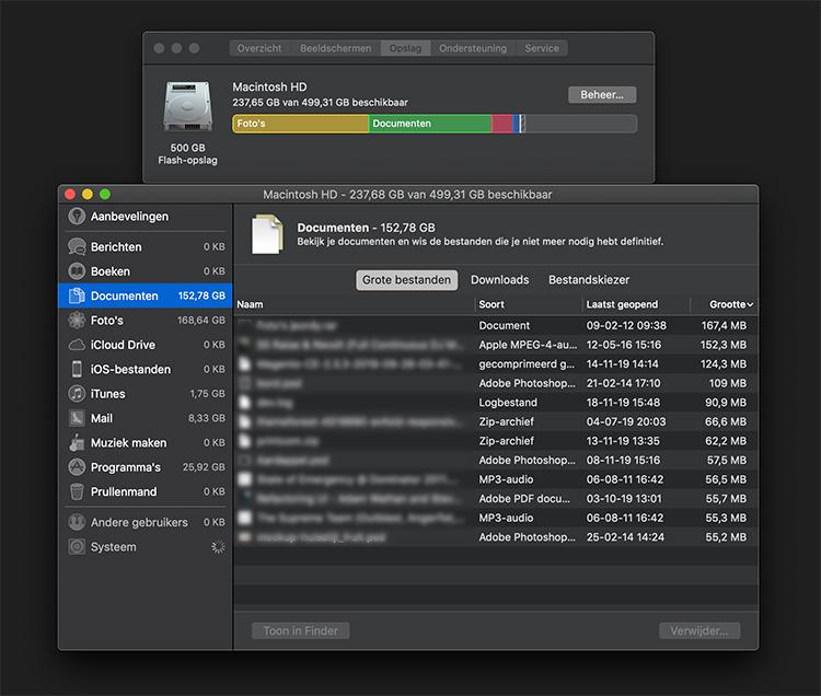 macOS grote bestanden verwijderen